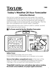 Taylor Today's weather 24 hour forecaster 1383 User Manual