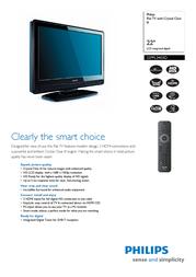 "Phillar 22"" Flat TV w/ Crystal Clear III LCD HD Ready 22PFL3403D/10 Leaflet"