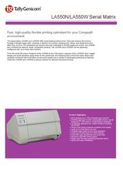 TallyGenicom LA550W Serial Matrix 901333 Leaflet