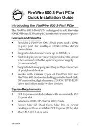 Sigma FireWire 800 3-Port PCIe NN-E38012-S2 User Manual