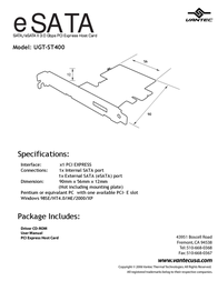 Vantec SATA/eSATA PCI Express Host Card UGT-ST400 Leaflet