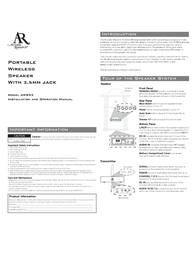 Acoustic Research AW553 User Manual
