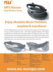 New Universe MP3 Sunglasses Dark Shadow 9MPF2128001 Leaflet