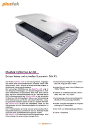 Plustek OpticPro A320 261-BBM21-C Data Sheet