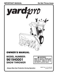Yard Machines 961940001 User Manual