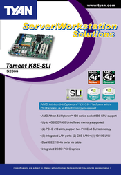 Tyan Tomcat K8E-SLI (S2866) S2866A2NRF Leaflet