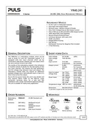 Puls DIMENSION YR40 DIN rails power supply din rail power supply U YR40.241 Data Sheet