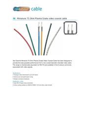 Vandamme 268-404-050, Coaxial Cable, 75Ω Green Sheath 268-404-050 Data Sheet