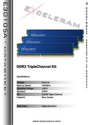 Exceleram 6GB DDR3 PC3-12800 E30105A Leaflet