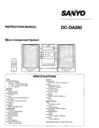 Sanyo Micro Hi-Fi 3 Watts With Logic Control DC-DA280 DCDA280 User Manual