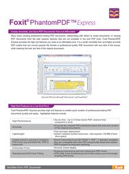 Foxit PhantomPDF Express, 1-4, UK PHANEXP0001 Leaflet