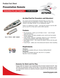 Keyspan USB Presentation Remote PR-US2 Leaflet
