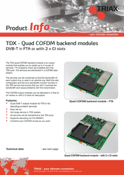 Triax TDX Backend - COFDM 492060 Leaflet