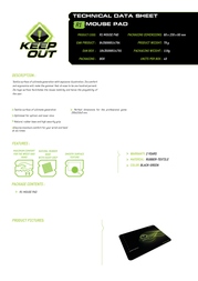 KeepOut R1 R1 MOUSE PAD Product Datasheet