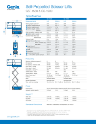 Genie GS-1530 Specification Sheet