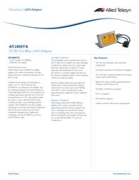 Allied Telesis 32-Bit CardBus LAN Adapter AT-2800TX Data Sheet