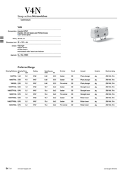 Saia Microswitch 250 Vac 5 A 1 x On/(On) V4NST7UL IP67 momentary 1 pc(s) V4NST7UL Data Sheet