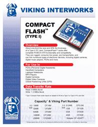 Viking CF64M 64MB COMPACT FLASH CF64M Leaflet