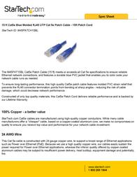 StarTech.com 15 ft Cat5e Blue Molded RJ45 UTP Cat 5e Patch Cable - 15ft Patch Cord M45PATCH15BL Leaflet
