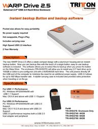 """Tritton Warp Drive 2.5"""" External Storage Enclosure TRI-XHD27E Leaflet"""