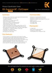 EK Water Blocks EK-Supreme HF Full Copper 3830046990228 Leaflet