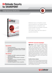 Bitdefender Security for SharePoint 2003, 25-49 users, 3 Years 202032B Leaflet