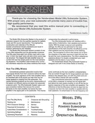 Vandersteen Audio 2WQ User Manual