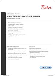 Moffat Robot Semi Automatic BDR 30 Piece DR2-4/30 Data Sheet