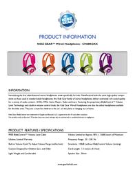 Kidz Gear CH68KG02 Leaflet