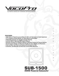 Vocopro SUB-1500 User Manual