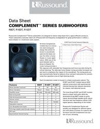 Russound R8DT Subwoofer Woofer 3190-522123 Data Sheet