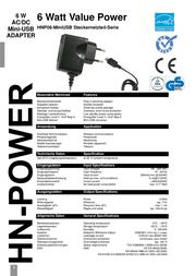 Hn Power USB charger Mains socket HNP06-MiniUSB Mini USB 1 x 1200 mA HNP06-MiniUSB Data Sheet