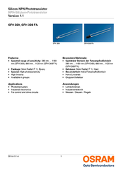 Osram Components Phototransistors SFH 309 FA N/A SFH 309 FA Data Sheet