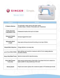 SINGER 3221 Leaflet