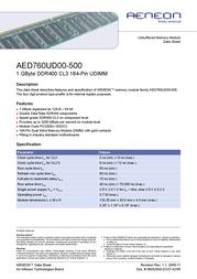 Aeneon AED760UD00-500 DDR 1GB - unbuffered DIMM AED760UD00-500 Data Sheet