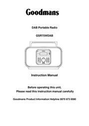 Goodmans GSR75WDAB 사용자 설명서