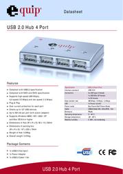 Equip USB 2.0 Hub 4 Port 128924 Data Sheet