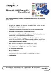 Devolo MicroLink dLAN Starter Kit Ethernet/Ethernet 1132 ユーザーズマニュアル
