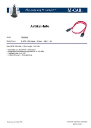 M-Cab Serial ATA 150 Cable 7000403 Leaflet