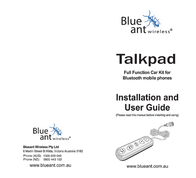 BlueAnt Talkpad Fully installed Bluetooth Car Kit Owner's Manual
