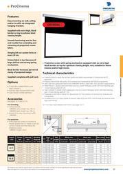 Projecta ProCinema 102x180 Matte White S 10200044 Leaflet