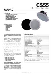 AUDAC CS 55 W DECKENLAUTSPRECHER AUCS55W Data Sheet