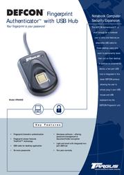 Targus DEFCON™ Fingerprint Authenticator™ With USB Hub PA460E Leaflet
