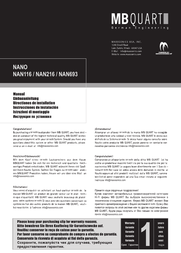 MB Quart NAN216 Справочник Пользователя