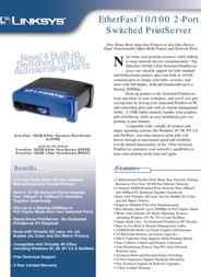 Linksys EtherFast Switched 2-Port Print Server EFSP42-EU Leaflet