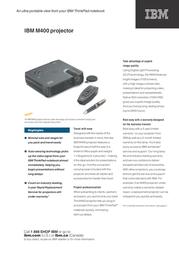 Lenovo M400 Projector 40Y6666 Leaflet