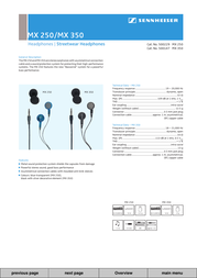 Sennheiser MX 250 Leaflet
