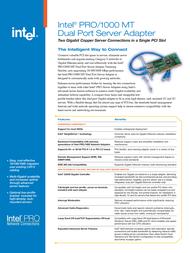 Intel PRO/1000 MT Dual Port Server Adapter PWLA8492MTBLK5 Leaflet