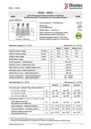 Diotec N/A BC 548 C NPN Case type TO 92 I(C) 0.2 A BC548C Data Sheet
