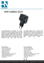 Hn Power USB charger Mains socket HNP-USBAC-DUO USB 2 x 1050 mA HNP-USBAC-DUO User Manual